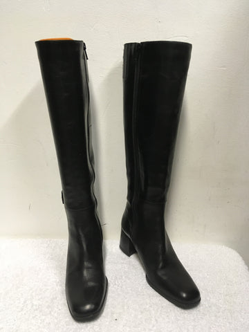 BALLY BLACK ROCCAPIA LEATHER KNEE LENGTH SLIM FIT BOOTS SIZE 3.5/36