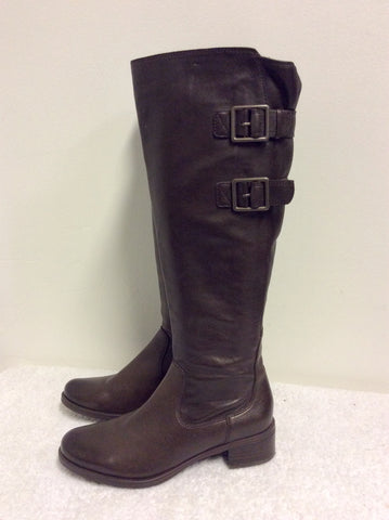BRAND NEW CLARKS COMFORT DARK BROWN LEATHER KNEE LENGTH BOOTS SIZE 3/35.5
