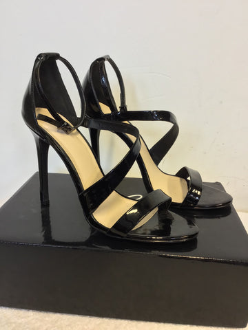 BRAND NEW SHOE BOX BLACK PATENT STRAPPY HEEL SANDALS SIZE 7/40