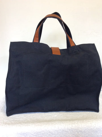 YVES SAINT LAURENT LARGE NAVY BLUE CANVAS & TAN LEATHER HAND/SHOULDER BAG