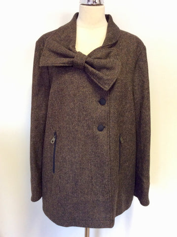 BRAND NEW JACK MURPHY BROWN TWEED SHETLAND WOOL BOW TRIM JACKET SIZE 18