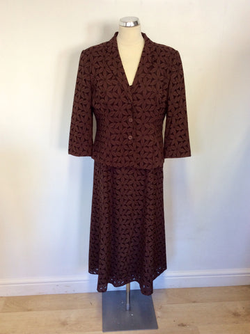 ALEX & CO BROWN FLORAL DESIGN DRESS & JACKET SUIT SIZE 14
