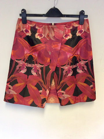 TED BAKER TROPICAL FLORAL PRINT A LINE MINI SKIRT SIZE 2 UK 12