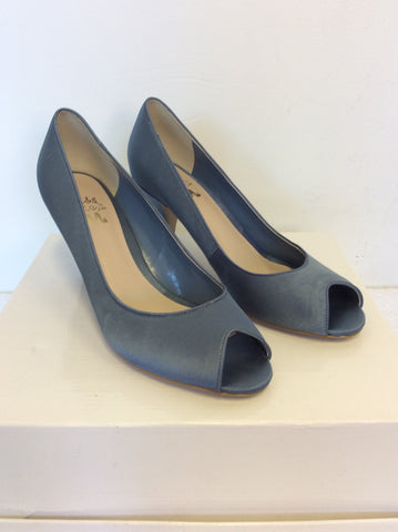 BRAND NEW MISS KG BLUE SATIN PEEPTOE HEELS SIZE 6/39