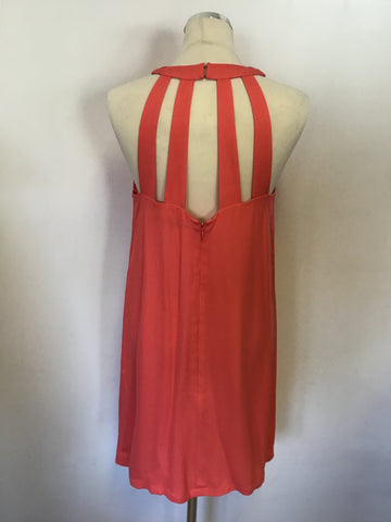 FRENCH CONNECTION CORAL OPEN STRAPPY BACK SHIFT DRESS SIZE 12
