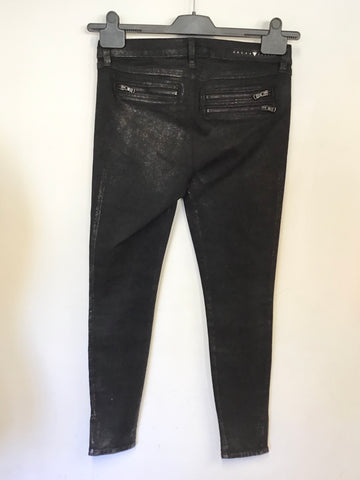 BRAND NEW GUESS BLACK SHIMMER ZIP TRIM SKINNY LEG JEANS SIZE 28