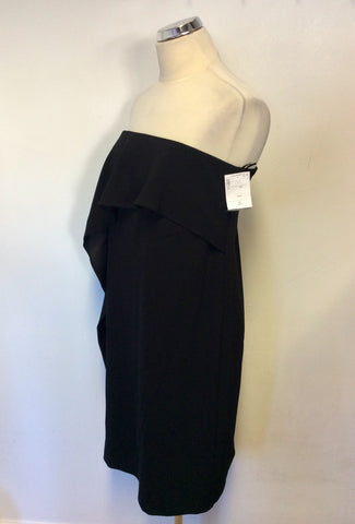 BRAND NEW LK BENNETT BLACK DELIA STRAPLESS WATERFALL TIER DRESS SIZE 12