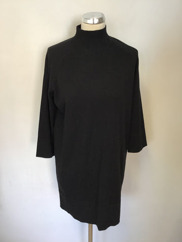 REPEAT BLACK 100% WOOL 3/4 SLEEVE LONG JUMPER SIZE 36 UK 10