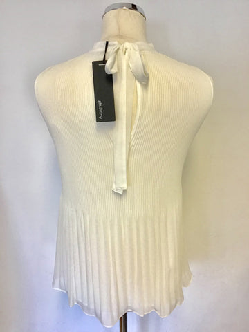 BRAND NEW MARKS & SPENCER AUTOGRAPH WHITE PLEATED TIE BACK SLEEVELESS TOP SIZE 10