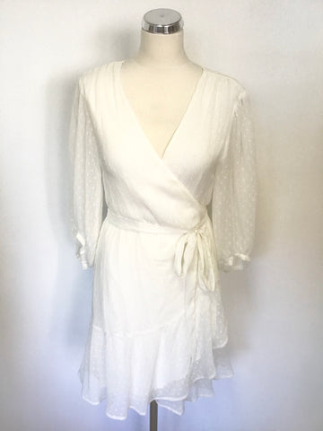 BRAND NEW ALL SAINTS JADE CHALK WHITE WRAP ACROSS 3/4 SLEEVE DRESS SIZE L