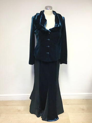 MINUET KINGFISHER GREEN VELVET JACKET, BODICE & LONG EVENING SKIRT SIZE 12