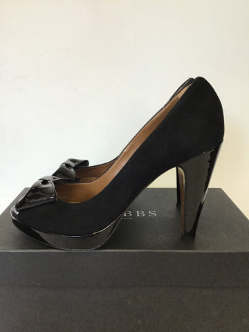 HOBBS FELIX BLACK SUEDE & PATENT LEATHER BOW TRIM PEEP TOE HEELS SIZE 7/40