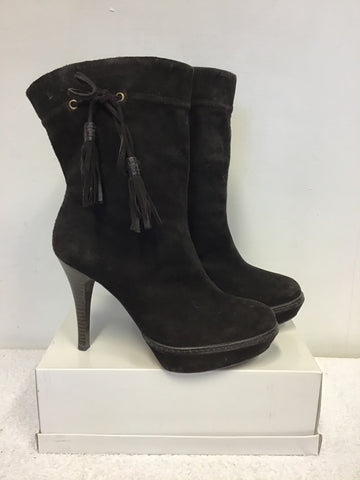 KAREN MILLEN DARK BROWN SUEDE TASSEL TRIM CALF LENGTH BOOTS SIZE 5/38