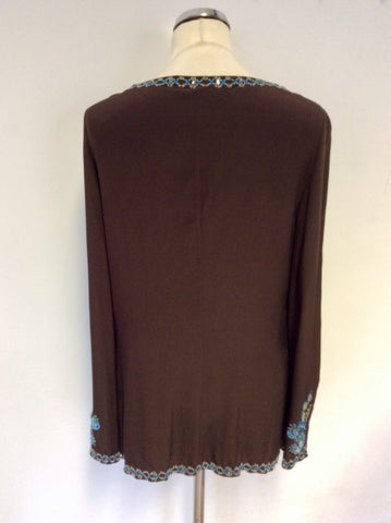 KAREN MILLEN DARK BROWN SILK BEADED & EMBROIDERED TUNIC TOP SIZE 14