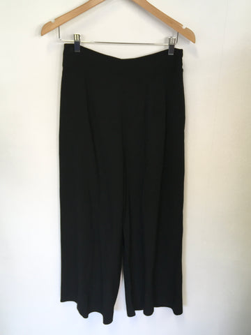 WHISTLES BLACK HIGH WAIST CROP WIDE LEG TROUSERS SIZE 10