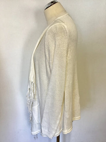 THE WHITE LABEL WHITE TASSEL TRIM COTTON CARDIGAN SIZE 12