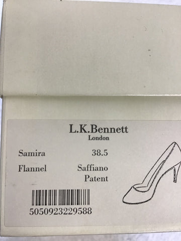 LK BENNETT SAFFIANO DARK GREY PATENT LEATHER HEELS SIZE 5.5/38.5 & MATCHING BAG