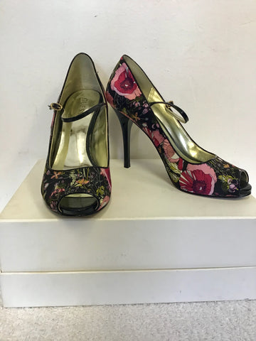 GUESS BY MARCIANO BLACK FLORAL PRINT PEEPTOE HEELS SIZE 4.5/37.5& MATCHING B