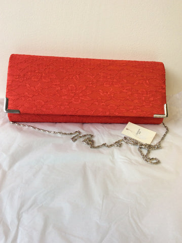 BRAND NEW RED LACE SATIN CLUTCH/SHOULDER BAG