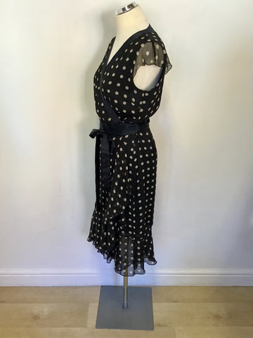 HOBBS BLACK & IVORY SPOT SILK CAP SLEEVE WRAP DRESS SIZE 12