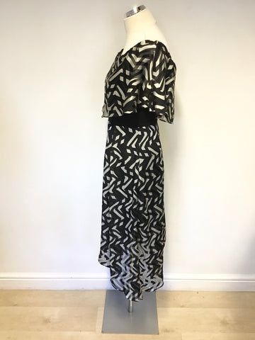 BRAND NEW COAST ADA BARDOT BLACK & WHITE MONO PRINT MIDI DRESS SIZE 10