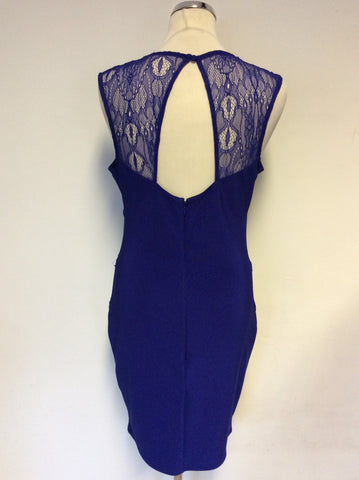 BRAND NEW LIPSY BLUE LACE TRIM STRETCH PENCIL DRESS SIZE 14
