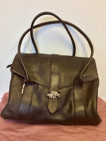 RADLEY DARK BROWN LEATHER TOTE / SHOULDER BAG