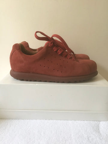 CAMPER RED SUEDE PELOTAS LACE UP SNEAKER SHOES SIZE 3.5/36