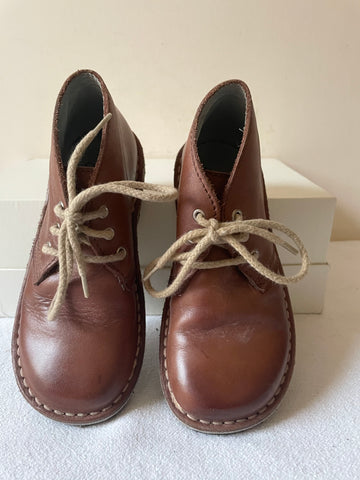 JOULES BROWN LEATHER LACE UP BOOTS SIZE 9/27.5