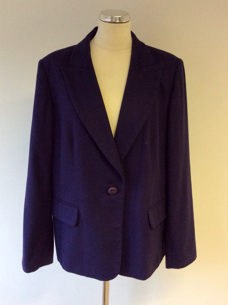 MARINA RINALDI PURPLE WOOL & ANGORA BLEND CLASSIC JACKET SIZE 25 UK 20