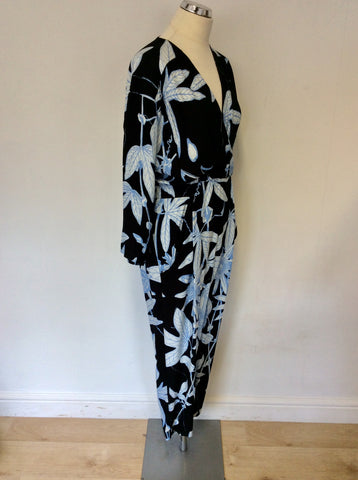 WHISTLES BLACK & BLUE BOTANICAL FLORAL PRINT JUMPSUIT SIZE 10