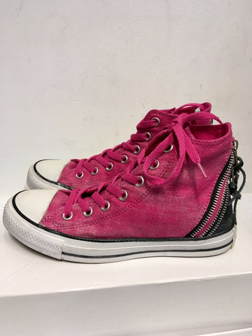 CONVERSE ALL STAR PINK ZIP TRIMS HIGH TOP PLIMSOLS SIZE 5.5/38.5