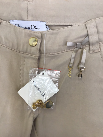 BRAND NEW GIRLS CHRISTIAN DIOR BEIGE COTTON JEANS/ TROUSERS AGE 12