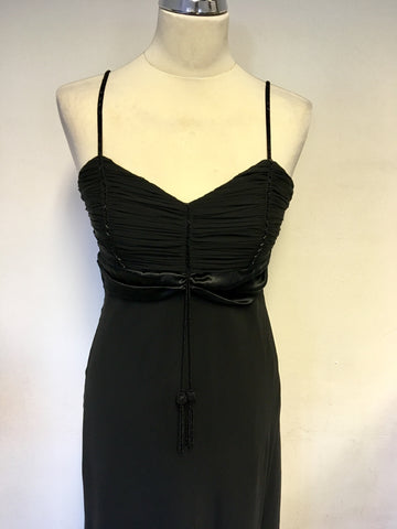 BRAND NEW MARKS & SPENCER AUTOGRAPH BLACK SILK LONG SPECIAL OCCASION DRESS SIZE 10