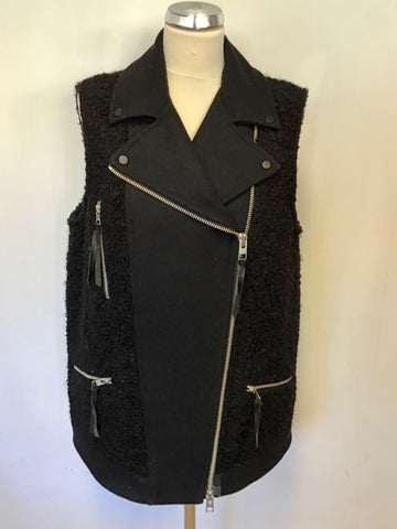 ALL SAINTS CHO BLACK SLEEVELESS BIKER JACKET SIZE 14