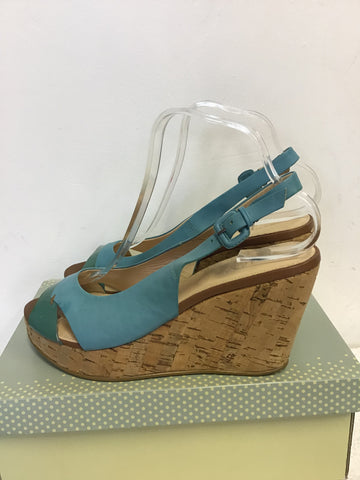 BRAND NEW RADLEY TURQUOISE LEATHER WEDGE HEEL SANDALS SIZE 7/40