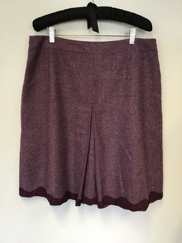 CHARLES TYRWHITT HEATHER 100% WOOL A LINE SKIRT SIZE 16