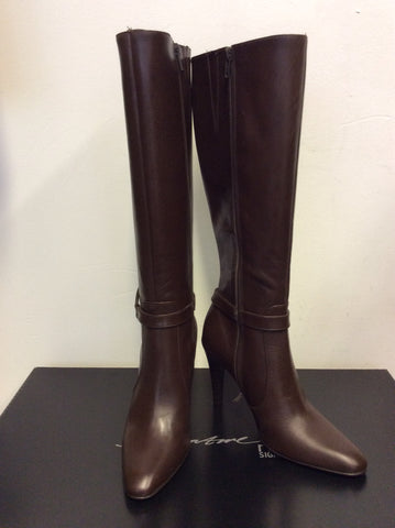 BRAND NEW NEXT SIGNATURE BROWN LEATHER KNEE LENGTH HEELED BOOTS SIZE 5/38