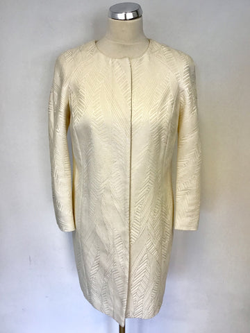 PER UNA IVORY EMBOSSED PRINT LONG JACKET SIZE 8