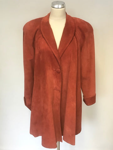 SOANISH DESIGNER RED SUEDE HIP LENGTH SWING COAT SIZE 46 UK 18