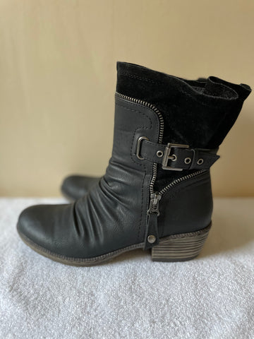 BRAND NEW RIEKER BLACK LEATHER & SUEDE ZIP & BUCKLE TRIM HEELED ANKLE BOOTS SIZE 4/37
