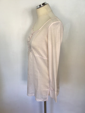 NEWMAN PALE PINK COTTON LONG STEEVE TUNIC TOP SIZE 1 UK 10