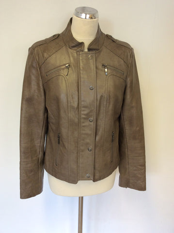MARKS & SPENCER INDIGO BROWN FAUX LEATHER JACKET SIZE 14