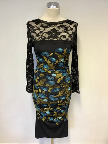 BRAND NEW PHASE EIGHT BLACK LACE TOP FLORAL PRINT STRETCH BODYCON DRESS SIZE 8