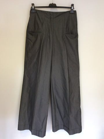 REISS GREY COTTON HIGH WAIST WIDE LEG TROUSERS SIZE 10