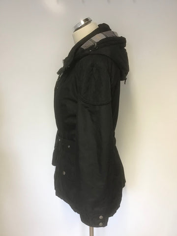 BARBOUR BLACK WATERPROOF & BREATHABLE HOODED BELTED JACKET SIZE 14