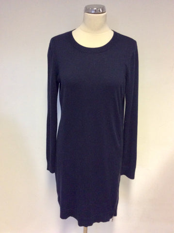 WHISTLES DARK BLUE ZIP TRIM KNIT DRESS SIZE 12