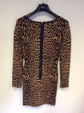 BCBGMAXAZRIA CAMEL LEOPARD PRINT STRETCH LONG SLEEVE DRESS SIZE S
