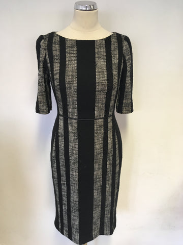 HOBBS BLACK & GREY MARL STRIPED SHORT SLEEVE PENCIL DRESS & JACKET SIZE 10