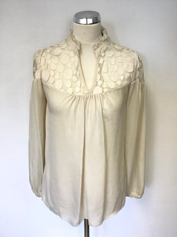 SOMERSET BY ALICE TEMPERLEY CREAM SILK LACE TRIM BLOUSE SIZE 8